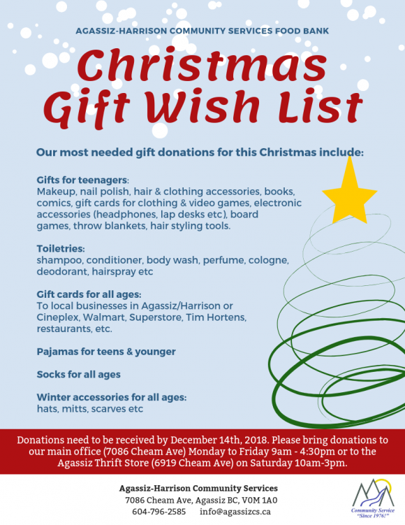 Christmas Gift Wish List | Agassiz-Harrison Community Services